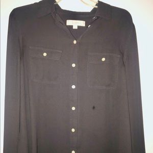 Loft charcoal button blouse with utility sleeves